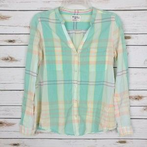 Holding Horses Tiby Plaid Collarless Shirt, 4